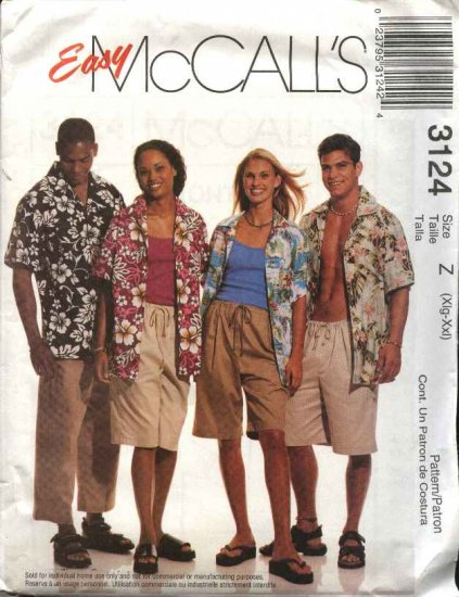 "McCall's Sewing Pattern 3124 Misses Mens Unisex Chest Size 42-48"" Easy Button Front Shirts Shorts"
