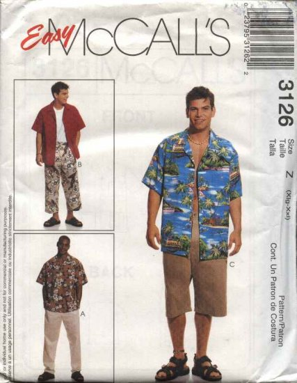 """McCall's Sewing Pattern 3126 M3126 Mens Chest Size 46-52"""" Easy Shirt Cropped Pants Shorts"""