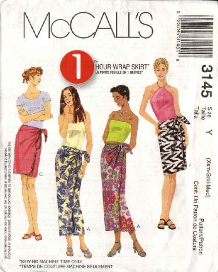 McCall's Sewing Pattern 3145 387 Misses Size 4-14 Easy  Wrap Short Long Straight Skirt Sarong Pareo
