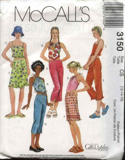 McCall's Sewing Pattern 3150 Girls Size 12-14-16 Sun Summer Halter Tops Cropped Pants Skirt