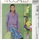 McCall's Sewing Pattern 3158 Misses Size 12-14-16 Button Front Dress Top A-Line Skirt Tie