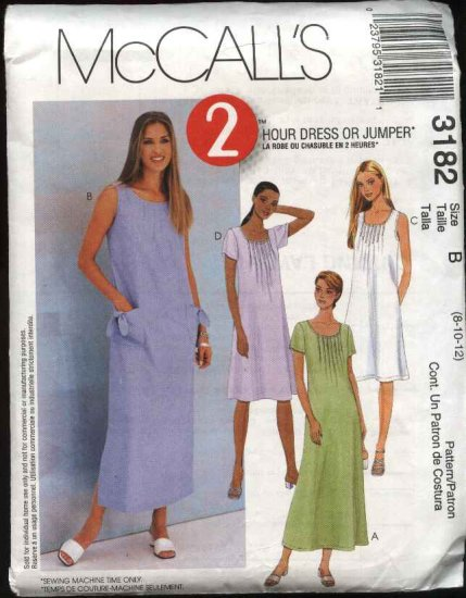 McCall's Sewing Pattern 3182 Misses Size 8-10-12 Loose-Fitting Long Short Dress Jumper