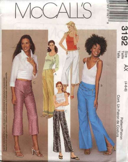 McCall's Sewing Pattern 3192 Misses Size 4-6-8 Low Rise Fitted Flared Long Cropped Pants