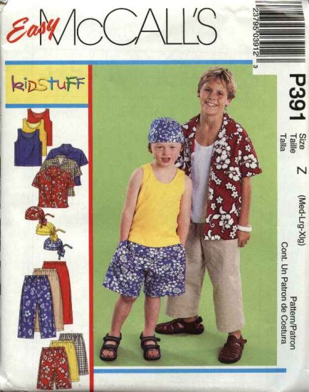 McCall's Sewing Pattern 3193 Boys Sizes 7-16 Easy Wardrobe Tank Top Button Front Shirt Pants Shorts