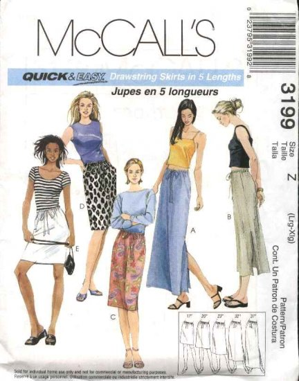 McCall's Sewing Pattern 3199 Misses Size 4-14 Easy Straight Drawstring Short Long Skirt