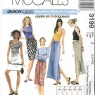 McCall's Sewing Pattern 3199 Misses Size 16-22 Easy Straight Drawstring Short Long Skirt