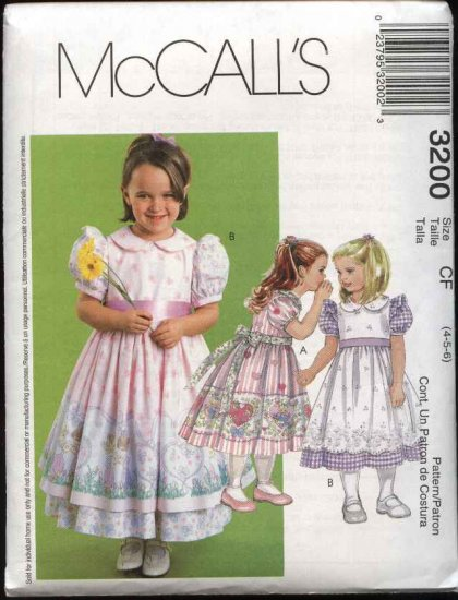 McCall's Sewing Pattern 3200 Girls Size 4-6 Puffy Sleeve Full Skirt Pinafore Dress
