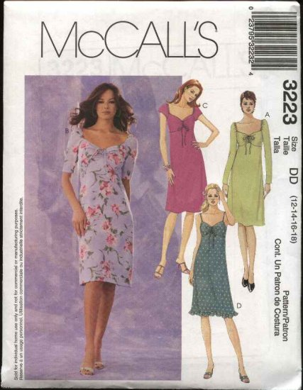 McCall's Sewing Pattern 3223 Misses Size 12-18 Sundress Ruched Bustline Short Dress