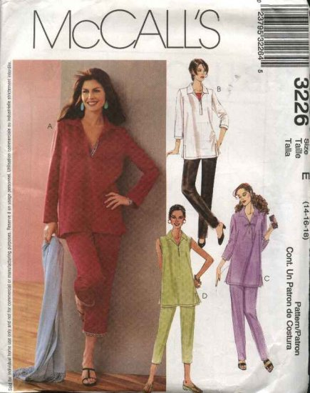 McCall's Sewing Pattern 3226 Misses Size 14-18 Pullover Long Sleeve Tunic Top Pull On Pants