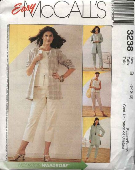 McCall's Sewing Pattern 3238 M3238 Misses Size 8-12 Easy Wardrobe Jacket Top Cropped Pants