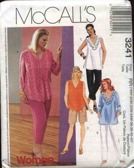 McCall�s Sewing Pattern 3241 Womans Plus Size 18W-24W Wardrobe Pullover Top Shorts Pants