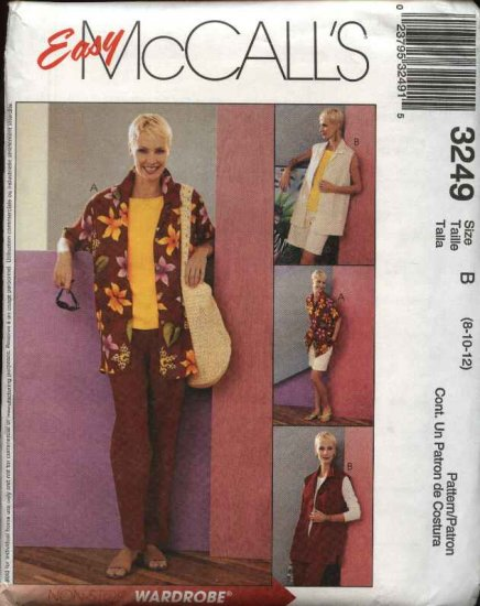 McCall's Sewing Pattern 3249 M3249 Misses Size 14-18 Easy Wardrobe Shirt Top Pants Shorts