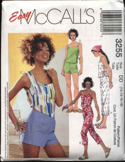McCall's Sewing Pattern 3255 Misses Size 12-18 Easy Summer Wardrobe Shorts Cropped Pants Tops