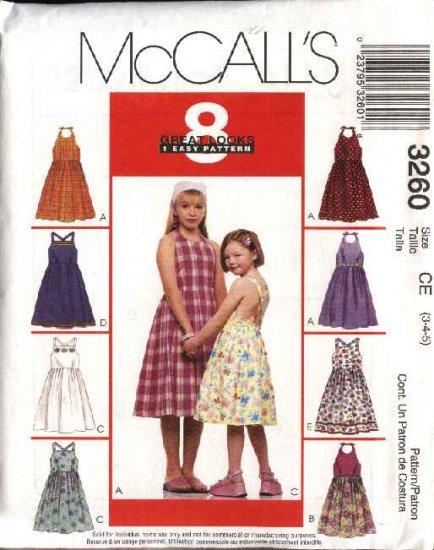 McCall's Sewing Pattern 3260 Girls Size 3-4-5 Easy Halter Sleeveless Summer Dress Sundress