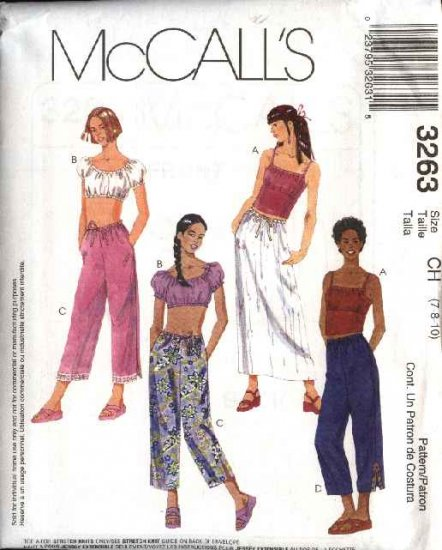 McCall's Sewing Pattern 3263 Girls Size 7-8-10 Wardrobe Pullover Peasant Top Cropped Pants Skirt