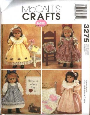 McCall�s Sewing Pattern M3275 3275 Size 18� Gotz Doll Clothes Dress Pinafore Nightgown Quilt