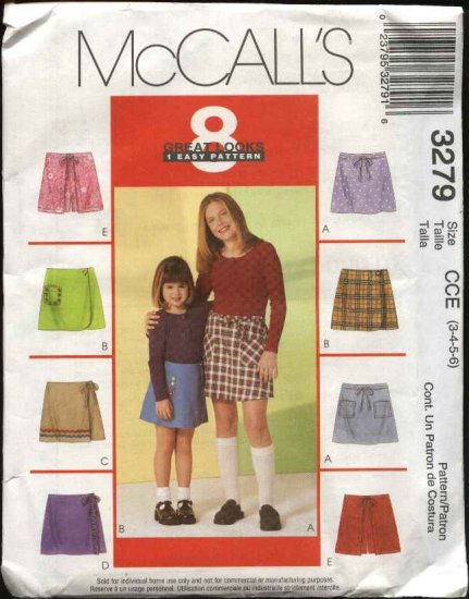 McCall's Sewing Pattern 3279 Girls Size 7-8-10 Easy Skorts Front Panel Variations