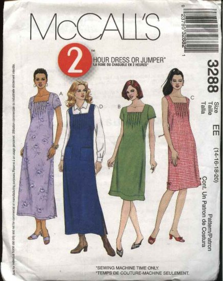 McCall's Sewing Pattern 3288 Misses Size 14-20 Pullover Tucked Bodice Jumper Dress