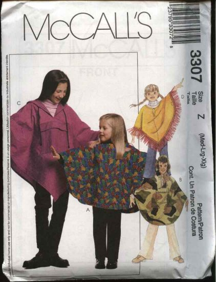 McCall's Sewing Pattern 3307 Girls Size 7-16 Hooded Pullover Ponchos Pull on Long Pants