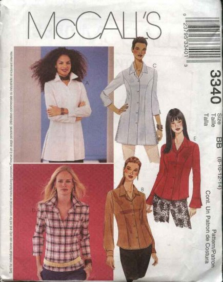 McCall's Sewing Pattern 3340 Misses Size 8-14 Classic Princess Seam Button Front Shirt Blouse Top