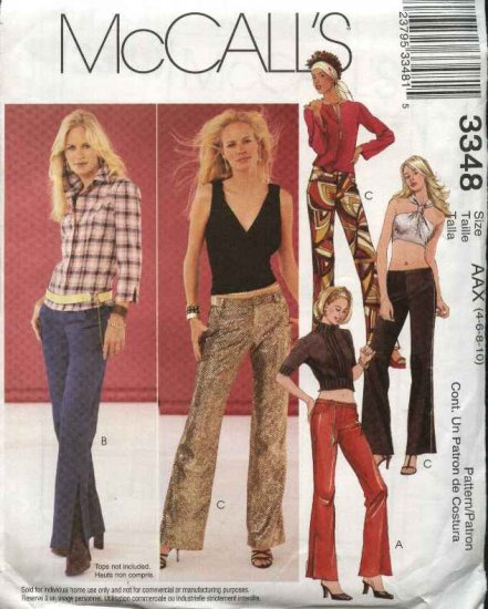 McCall's Sewing Pattern 3348 M3348 Misses Size 12-18 Fitted Low Rise Long  Pants