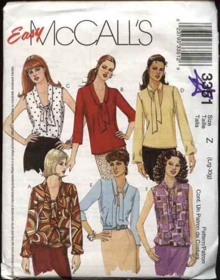 McCall's Sewing Pattern 3351 Misses Size 16-22 Easy Pullover Sleeveless Long Sleeve Blouse