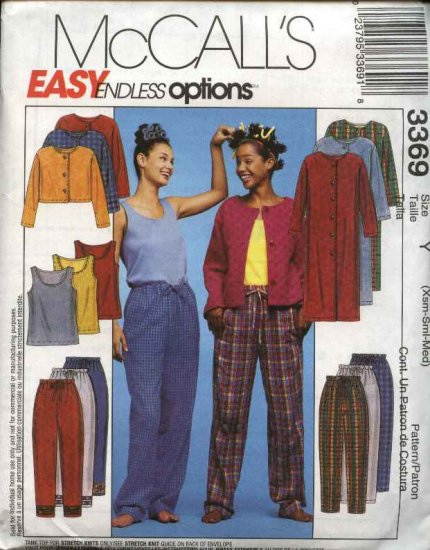 McCall's Sewing Pattern 3369 Misses Size 4-14 Easy Loungewear Wardrobe Duster Jacket Top Pants