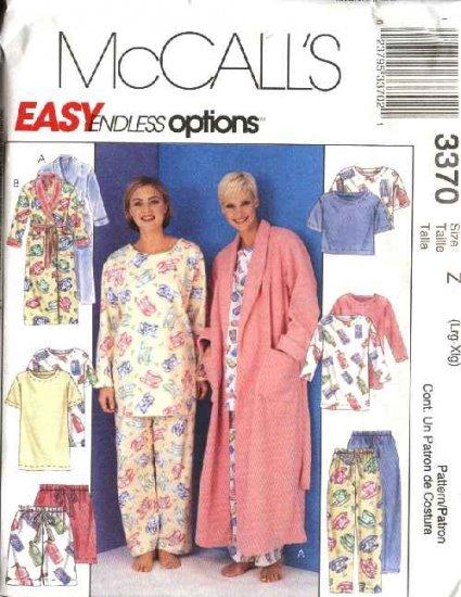 McCall's Sewing Pattern 3370 Misses Size 16-22 Easy Sleepwear Wardrobe Pajamas Robe Tunic