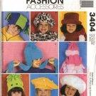 McCall's Sewing Pattern 3404 M3404 Children's Boys Girls Scarf Mittens Faux Fur Fleece  Hats