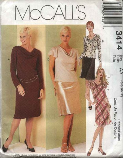 McCall's Sewing Pattern 3414 Misses Size 6-12 Cowl Neck Pullover Dress Top A-Line Skirt