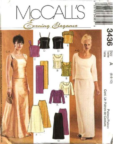 McCall's Sewing Pattern 3436 Misses Size 6-10 Prom Formal Evening 2-Piece Dress Top Skirt Stole