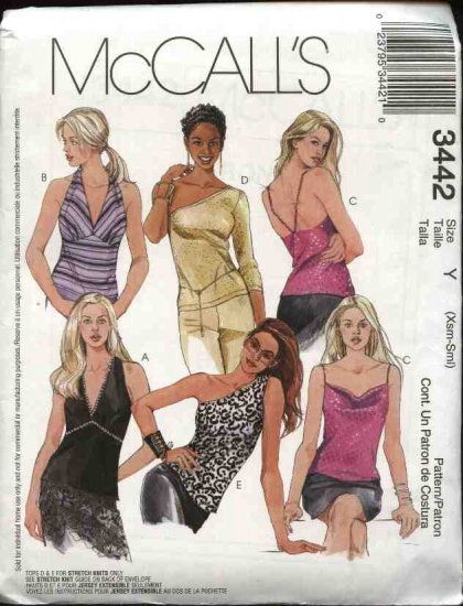 McCall's Sewing Pattern 3442 Misses Size 12-18 Knit Woven Halter Summer Tops