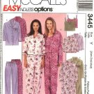 McCall's Sewing Pattern 3445 Misses Size 4-14 Easy Pajamas Nightshirt Tops Camisole Pants