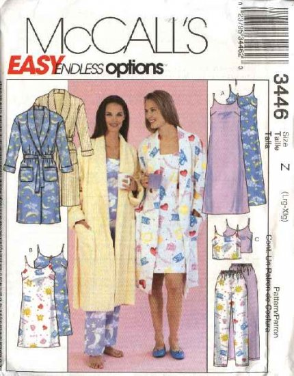 McCall's Sewing Pattern 3446 Misses Size 16-22 Easy Sleepwear Robe Nightgown Camisole Pants