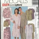 "McCall's Sewing Pattern 3452 M3452 Misses Mens Unisex Chest 31 1/2 - 40"" Nightshirt Pajamas Pants"