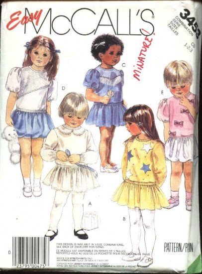McCall�s Sewing Pattern 3453 Girls  Size 1-2-3 Easy Pullover Short Long Sleeve Dress