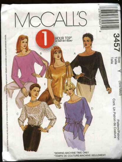 McCall's Sewing Pattern 3457 Misses Size 8-14 Quick Pullover Tops Sash