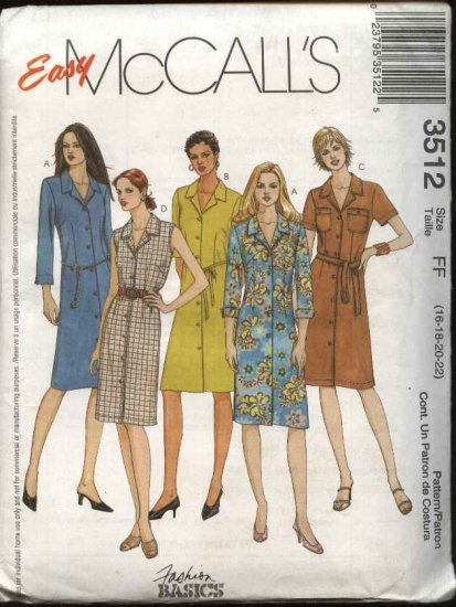 McCall's Sewing Pattern 3512 Misses Size 8-14 Easy Button Front Straight Shirt Dress