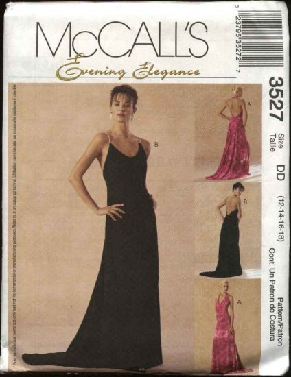 McCall's Sewing Pattern 3527 Misses Size 4-10 Evening Gown Prom Formal Dress Halter Train