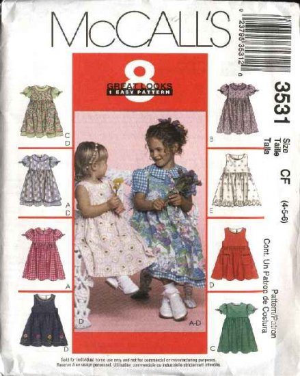 McCall's Sewing Pattern 3531 Girls Size 4-6 Easy Full Skirt Dresses Pinafores