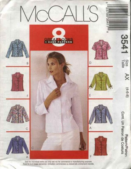McCall's Sewing Pattern 3541 M3541 Misses Size 18-22 Easy Classic Button Front Fitted Shirts
