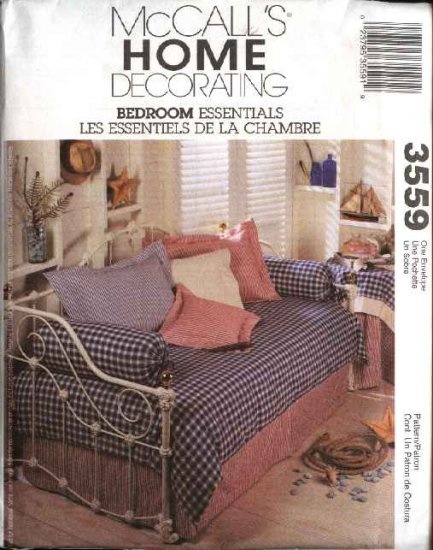 McCall's Sewing Pattern 3559 Home Decorating Bedroom Essentials Duvet Tablecloth Pillows Daybed