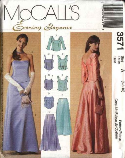 McCall's Sewing Pattern 3571 Misses Size 6-10 Evening Formal Prom Top Long Flared Skirt Bustier