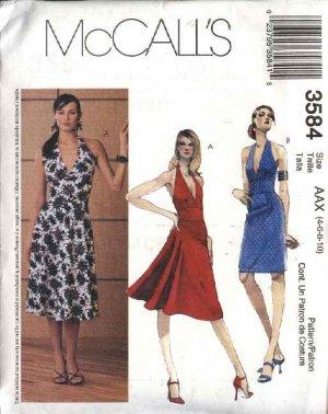McCall's Sewing Pattern 3584 Misses Size 4-6-8-10 Halter Straight Flared Skirt Summer Dress Sundress