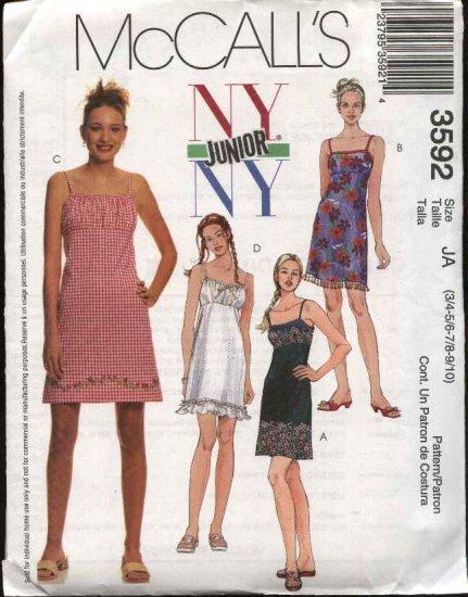 McCall's Sewing Pattern 3592 Junior Size 11/12-17/18 NYNY Slip Raised Waist Empire Dress Sundress