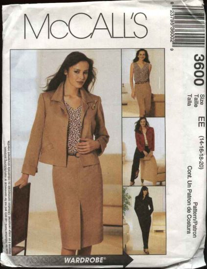 McCall's Sewing Pattern 3600 Misses Size 14-20 Wardrobe Unlined jacket Top Shell Skirt Pants