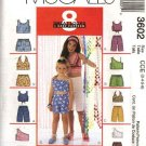 McCall's Sewing Pattern 3602 Girls Size 3-4-5-6 Easy Summer Pullover Halter Tops Shorts