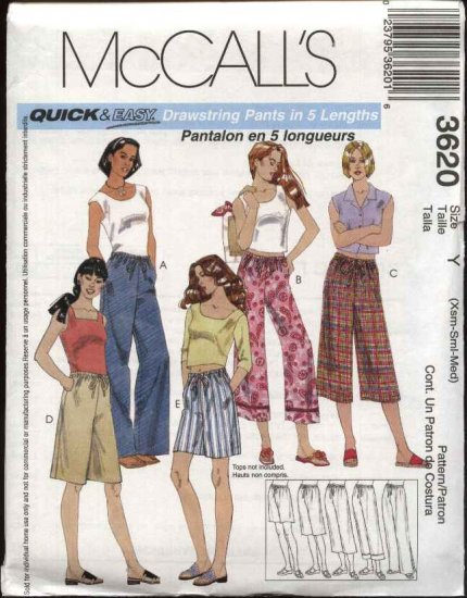 McCall's Sewing Pattern 3620 Misses Size 4-14 Easy Drawstring Cropped Capri Pants Shorts