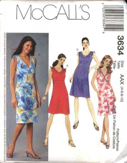 McCall's Sewing Pattern 3634 Misses Size 4-10 Bias Raised Waist Empire Sleeveless Summer Dresses