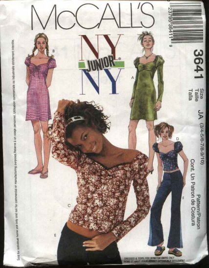 McCall's Sewing Pattern 3641 M3641 Junior Size 11/12-17/18 NYNY Wardrobe Dress Tops Pants